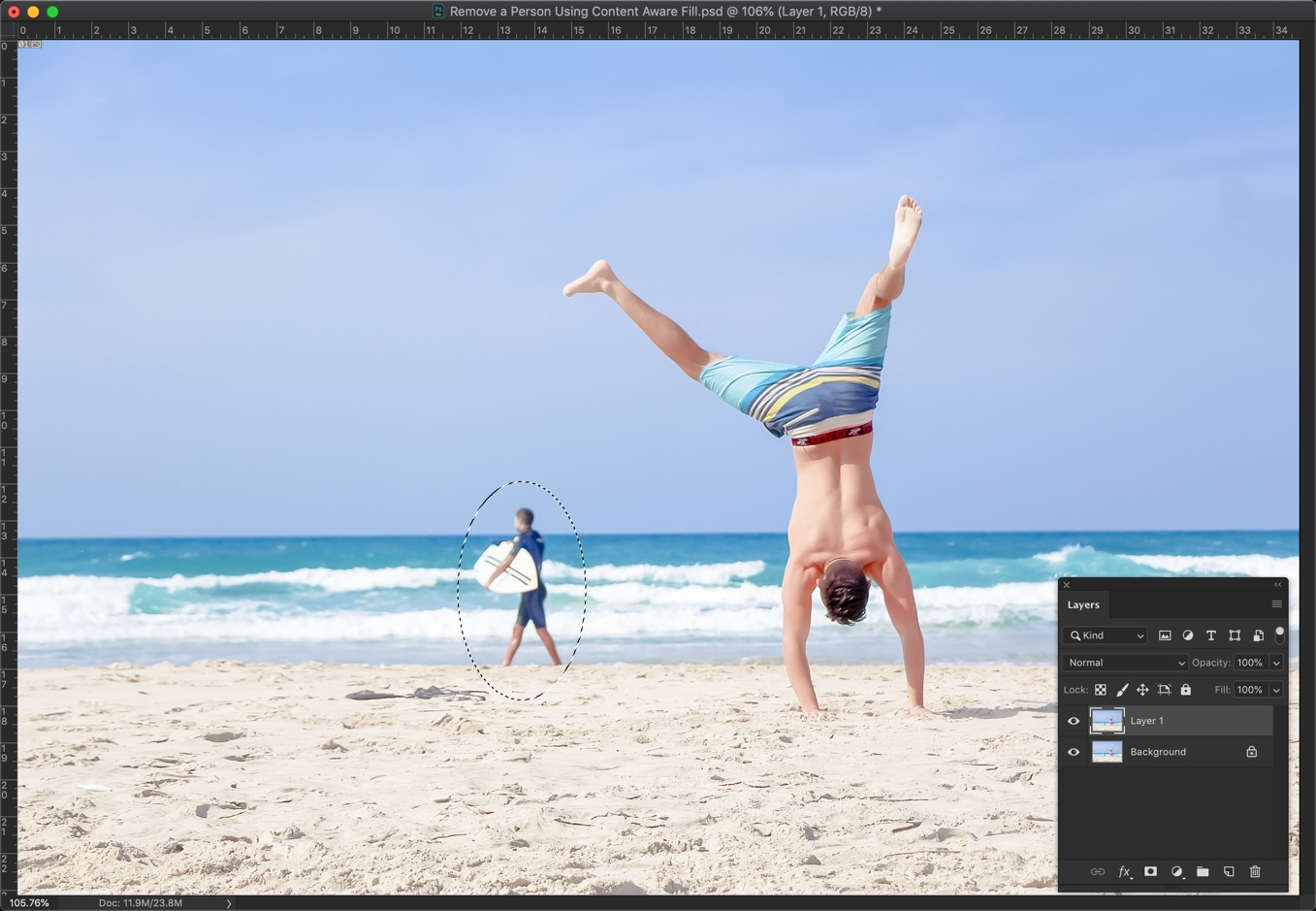 4-2 - [Pro Hack] Use Content Aware Fill to Remove a Person in Photoshop