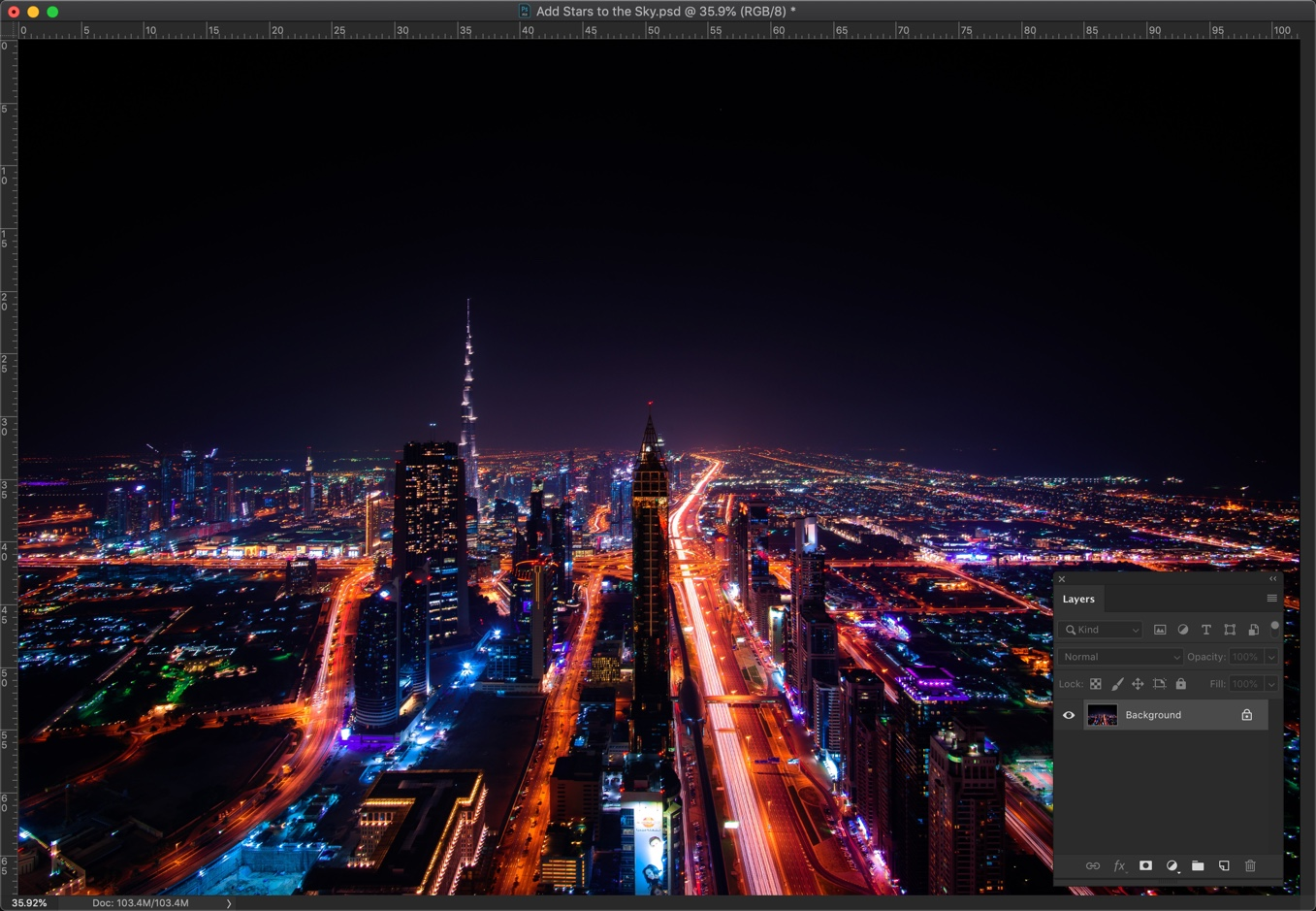1 - How to add stars to the sky in Photoshop