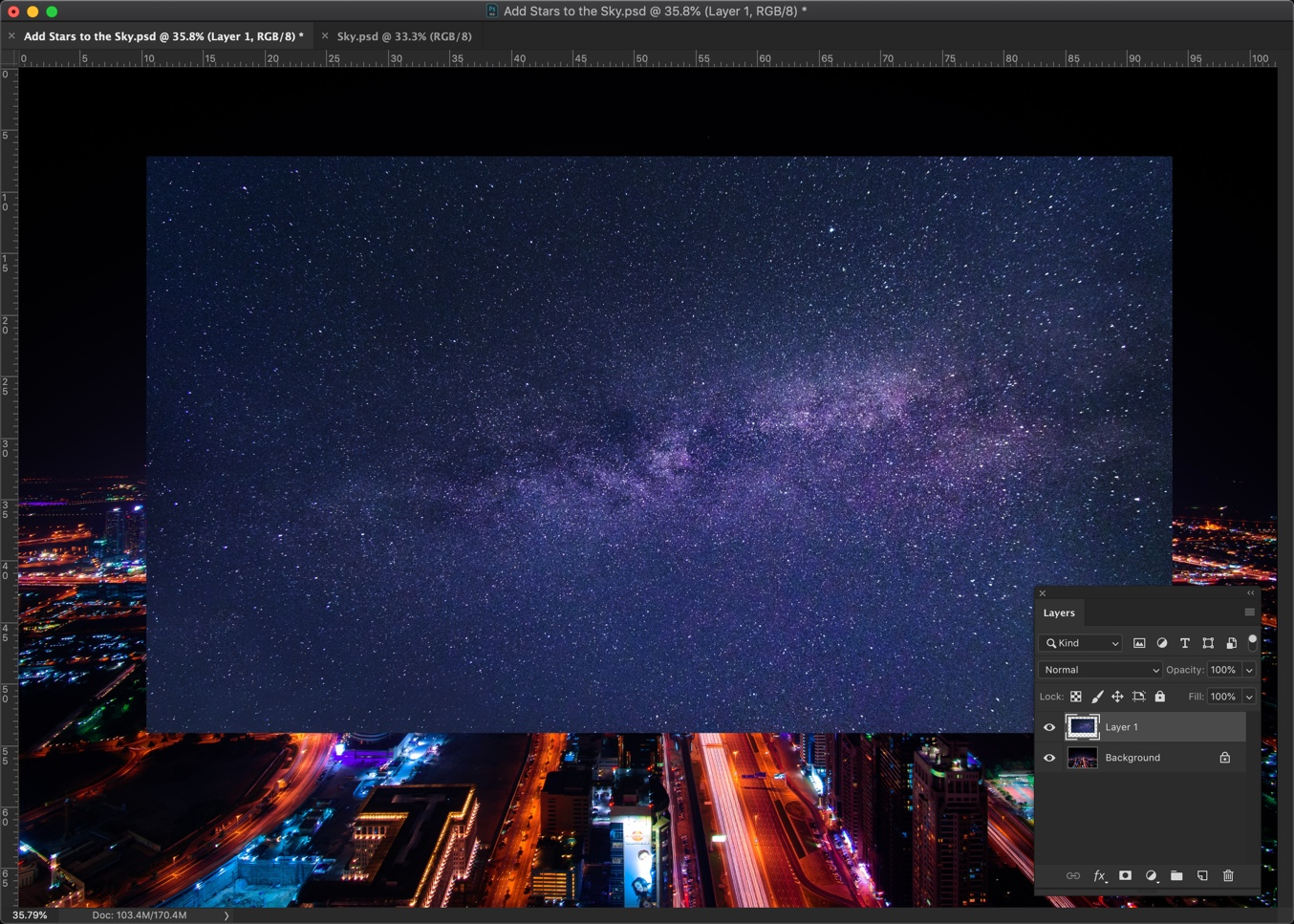 3-1 - How to add stars to the sky in Photoshop