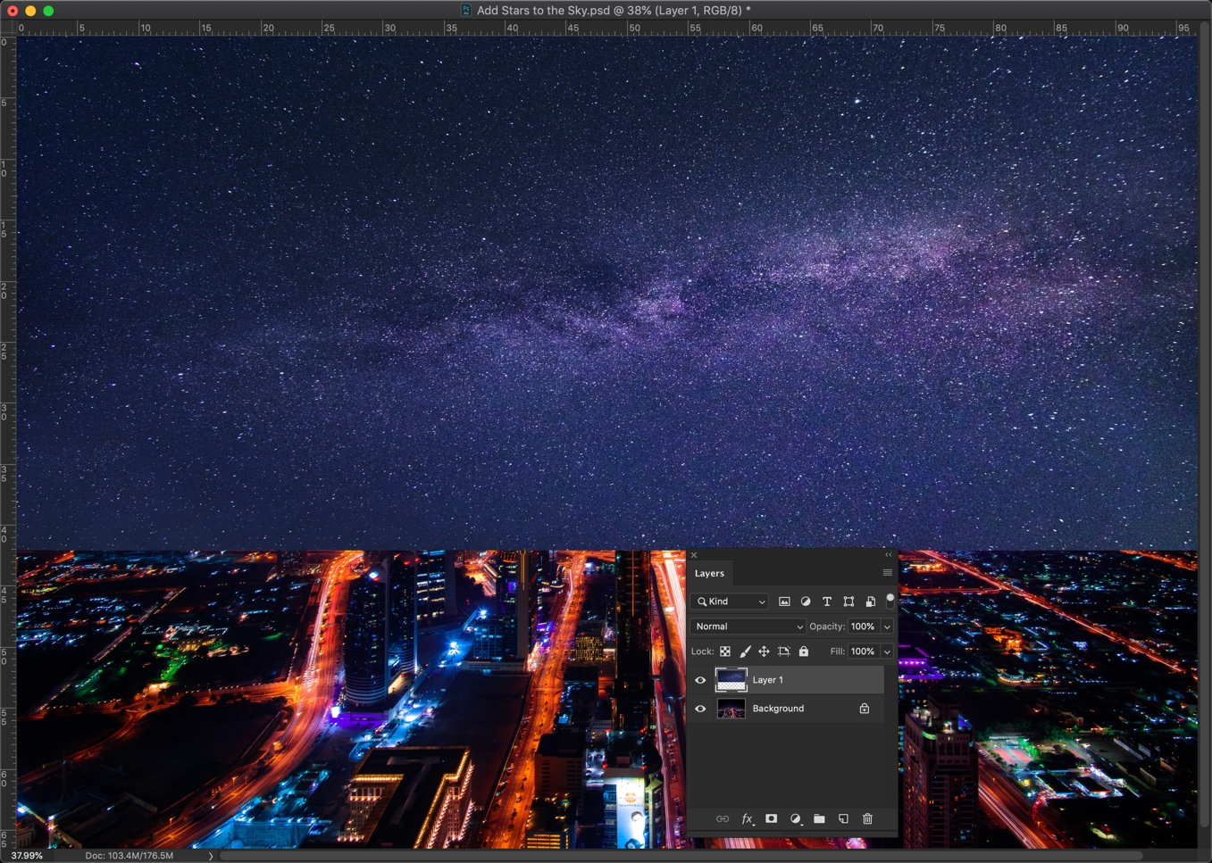 4-1 - How to add stars to the sky in Photoshop