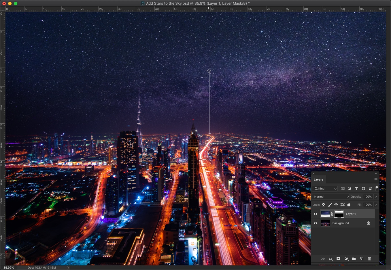 8-1 - How to add stars to the sky in Photoshop
