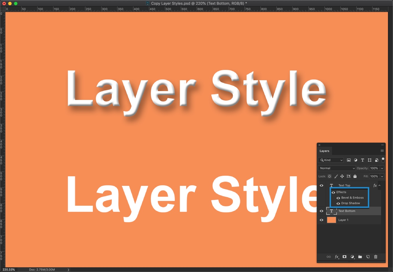 2-3 - Quick Tip: Copy Layer Styles in Photoshop