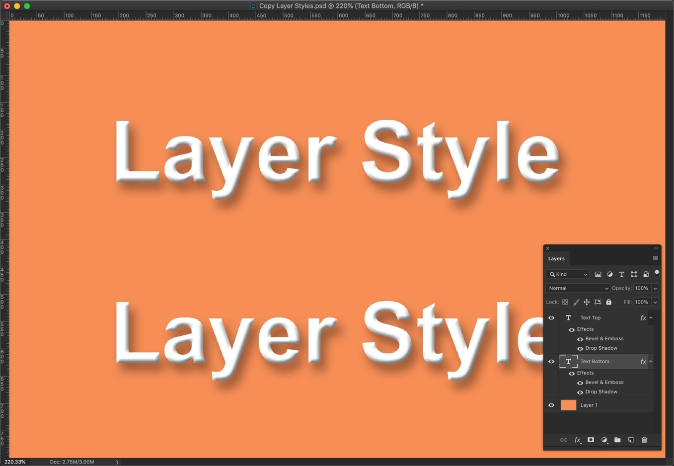 8-2 - Quick Tip: Copy Layer Styles in Photoshop