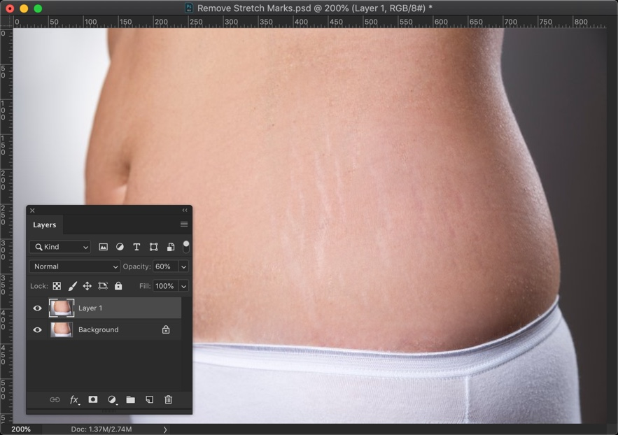 8-1 - Completely Remove Stretch Marks in Photoshop