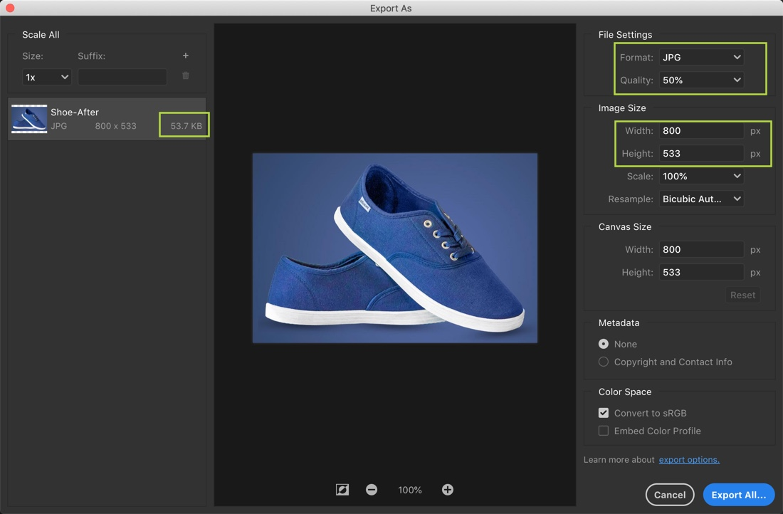 What should be the size of e-commerce photos?
