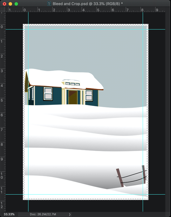 How to add bleed and crop in Photoshop